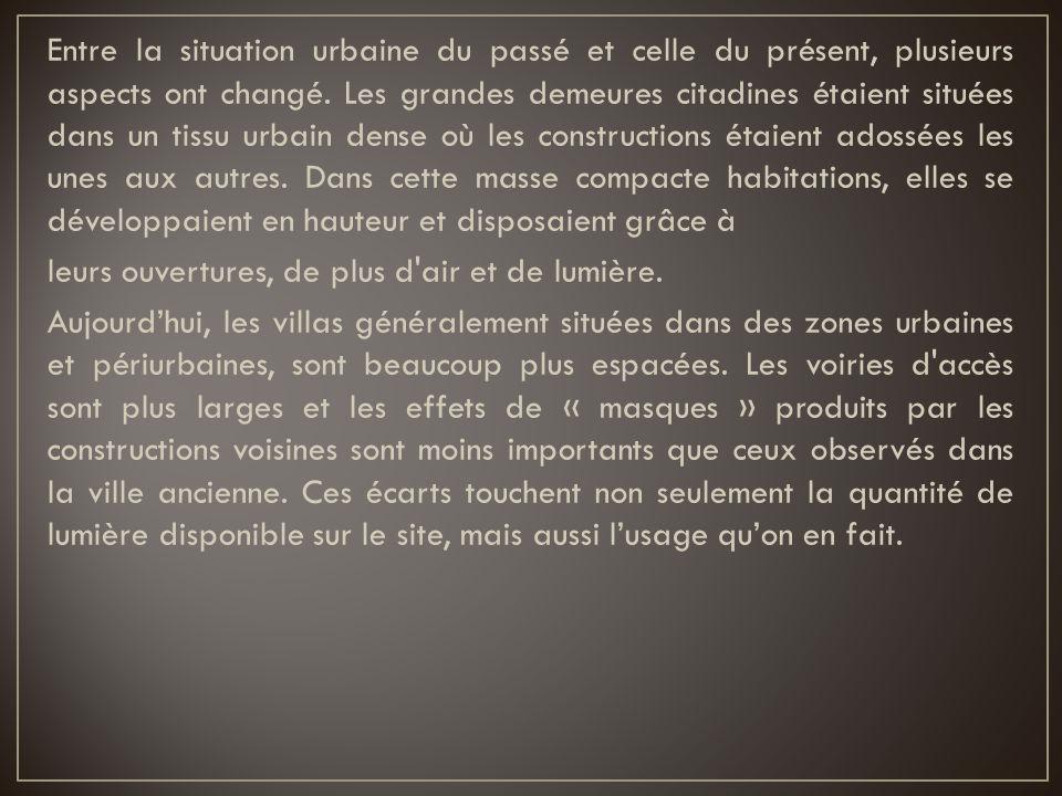 Entre la situation urbaine du passé et celle du présent, plusieurs aspects ont changé.