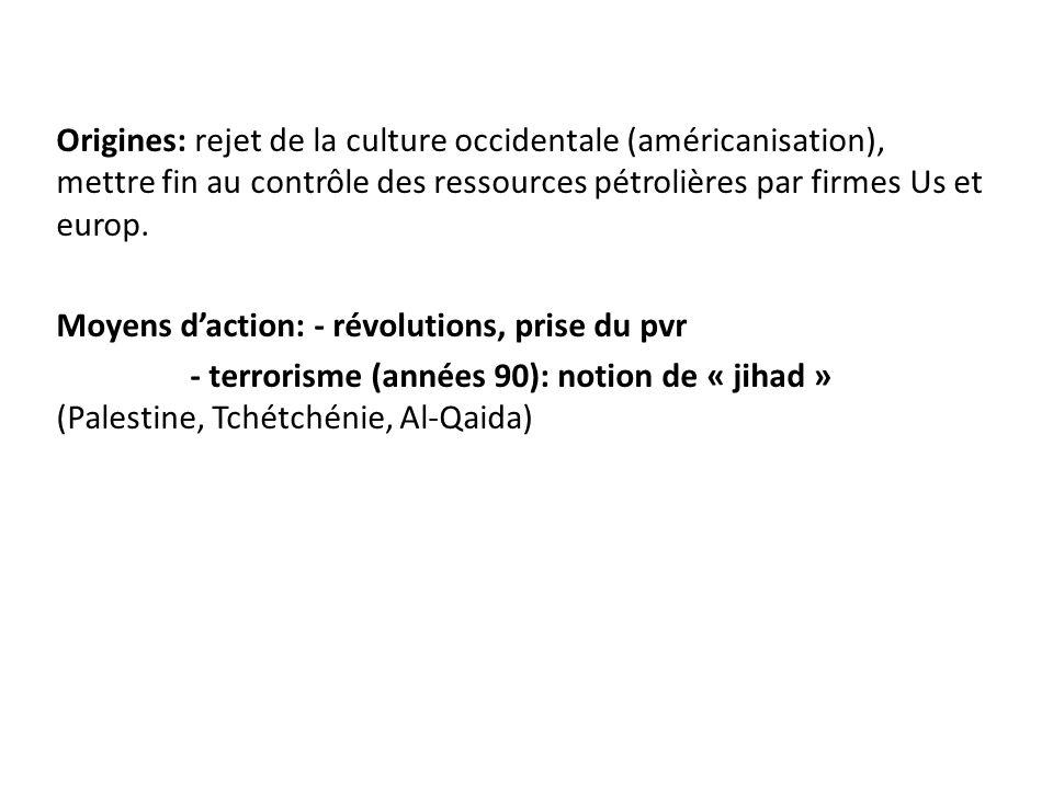 Origines: rejet de la culture occidentale (américanisation), mettre fin au contrôle des ressources pétrolières par firmes Us et europ.