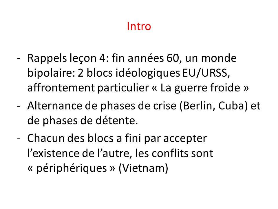Intro Rappels leçon 4: fin années 60, un monde bipolaire: 2 blocs idéologiques EU/URSS, affrontement particulier « La guerre froide »