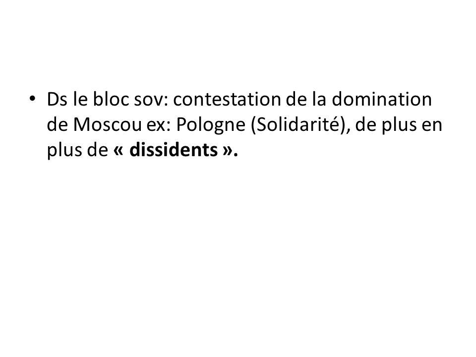 Ds le bloc sov: contestation de la domination de Moscou ex: Pologne (Solidarité), de plus en plus de « dissidents ».