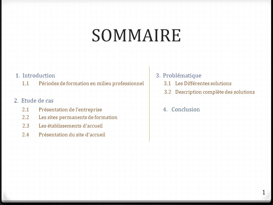 SOMMAIRE 1 1. Introduction 3. Problématique