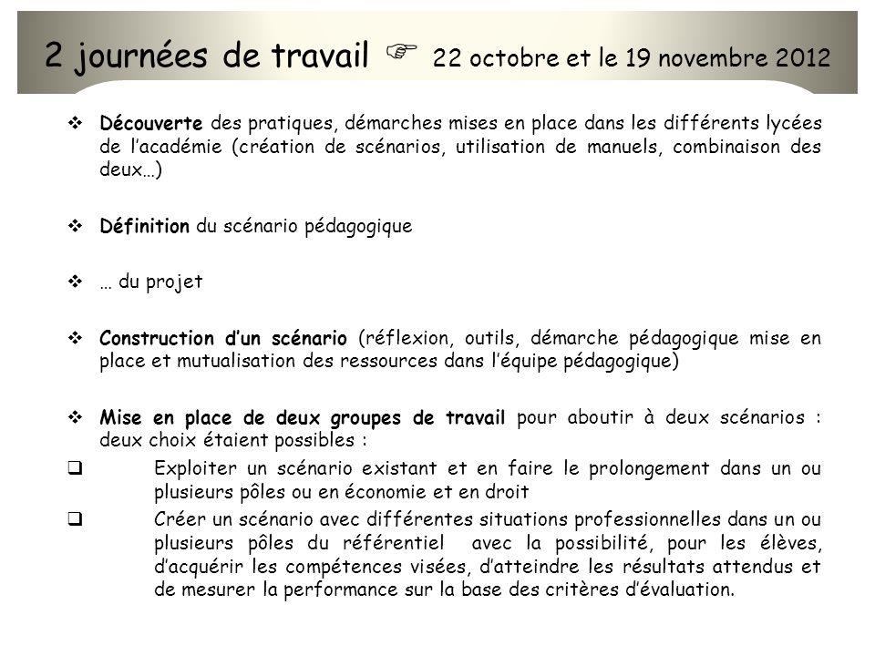 2 journées de travail  22 octobre et le 19 novembre 2012