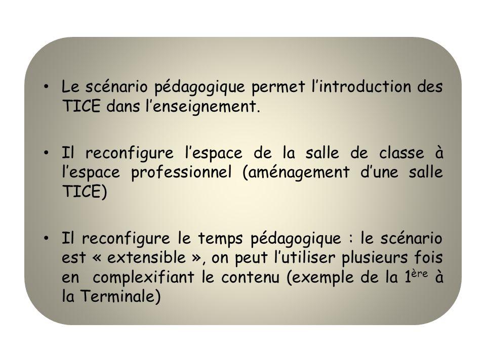 Le scénario pédagogique permet l'introduction des TICE dans l'enseignement.