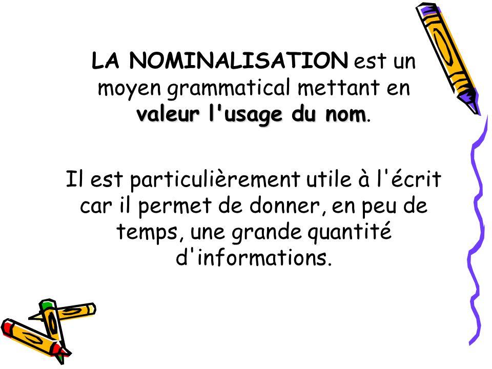 LA NOMINALISATION est un moyen grammatical mettant en valeur l usage du nom.