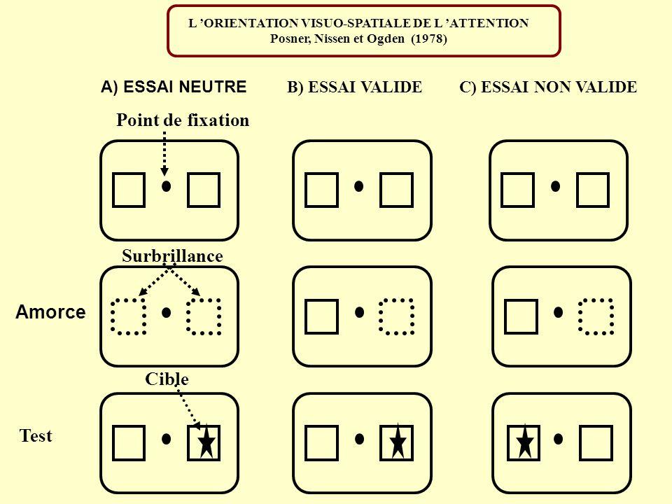 Point de fixation Surbrillance Amorce Cible Test A) ESSAI NEUTRE