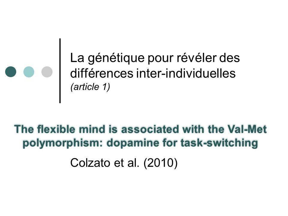 La génétique pour révéler des différences inter-individuelles (article 1)