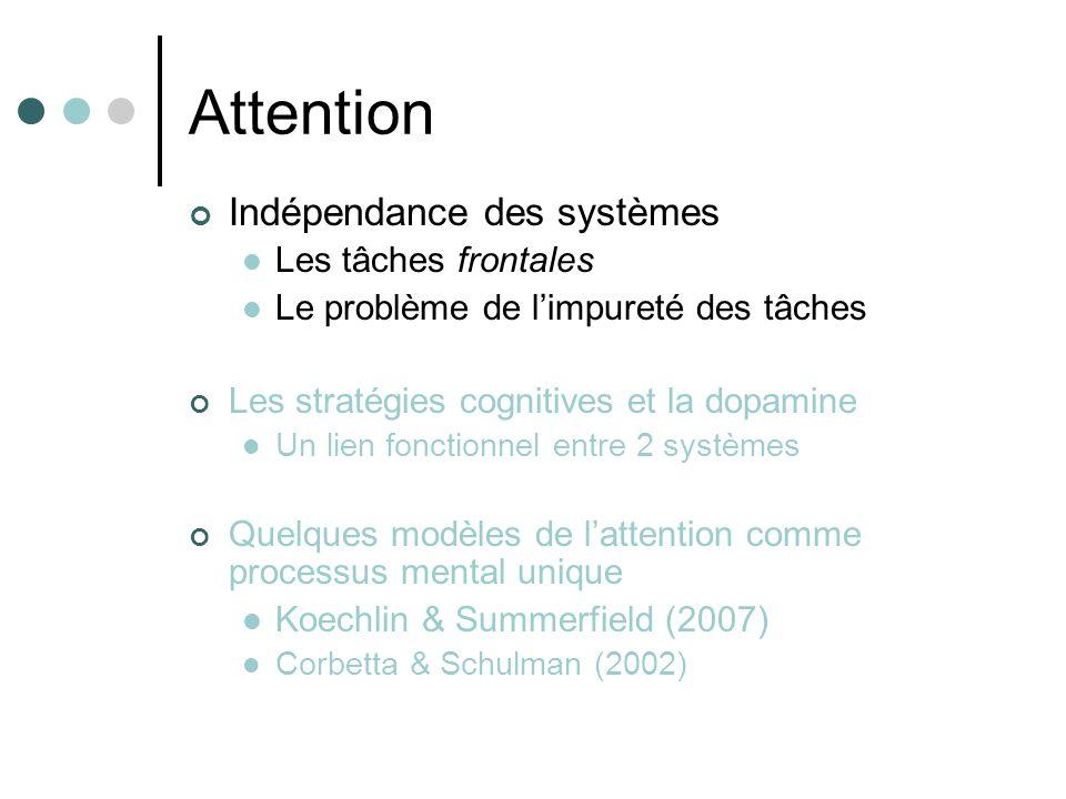 Attention Indépendance des systèmes Les tâches frontales
