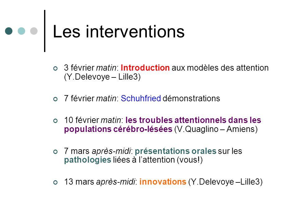 Les interventions 3 février matin: Introduction aux modèles des attention (Y.Delevoye – Lille3) 7 février matin: Schuhfried démonstrations.