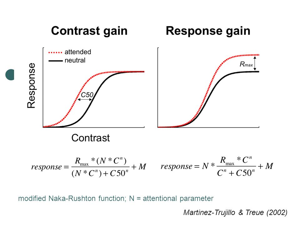modified Naka-Rushton function; N = attentional parameter