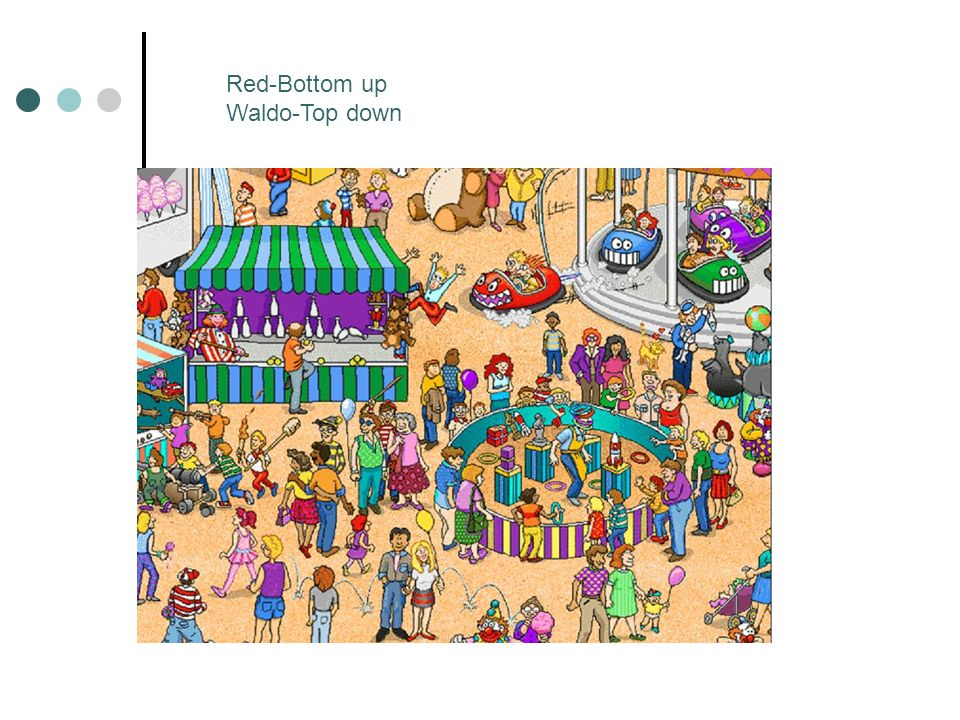Red-Bottom up Waldo-Top down
