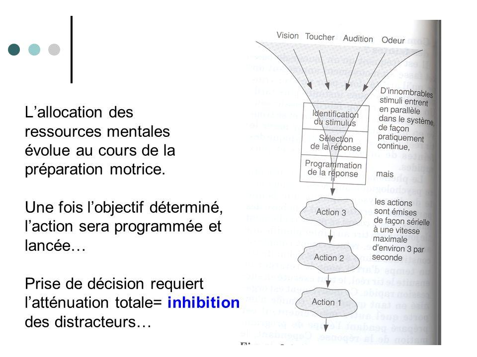 L'allocation des ressources mentales évolue au cours de la préparation motrice.