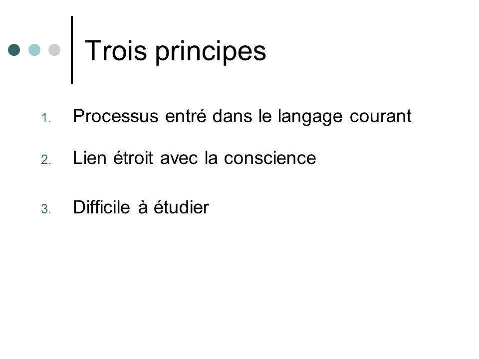Trois principes Processus entré dans le langage courant