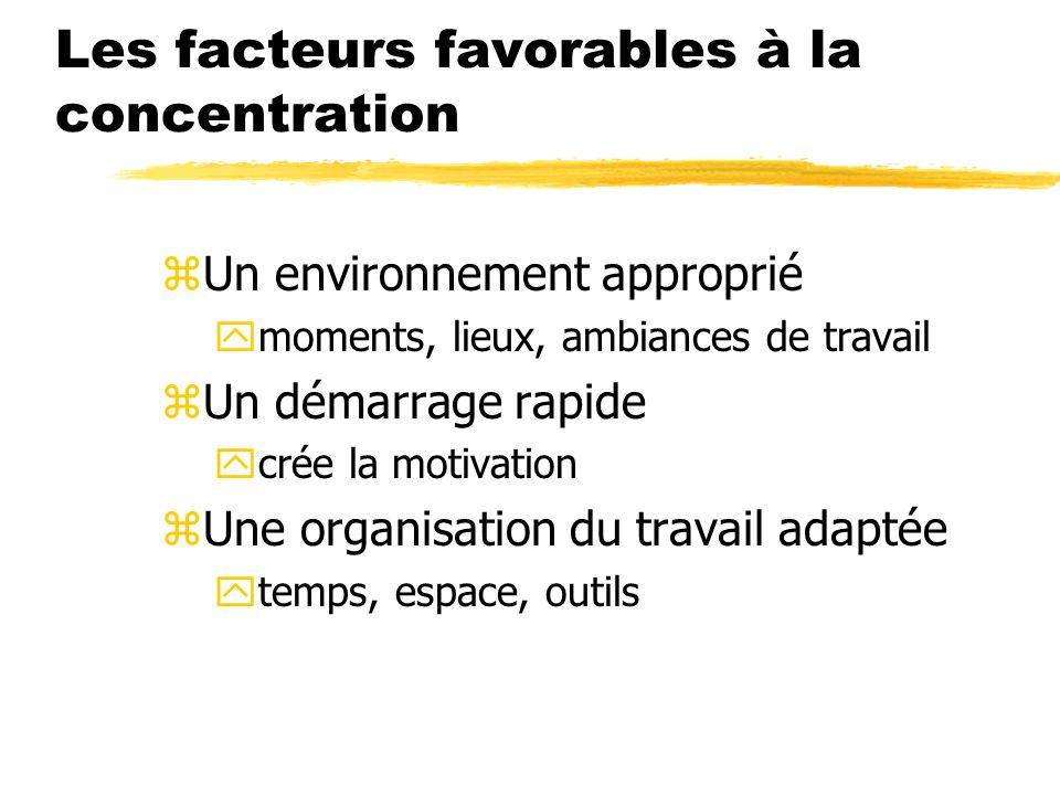 Les facteurs favorables à la concentration