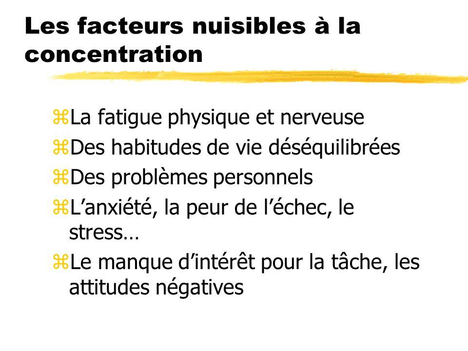 Les facteurs nuisibles à la concentration