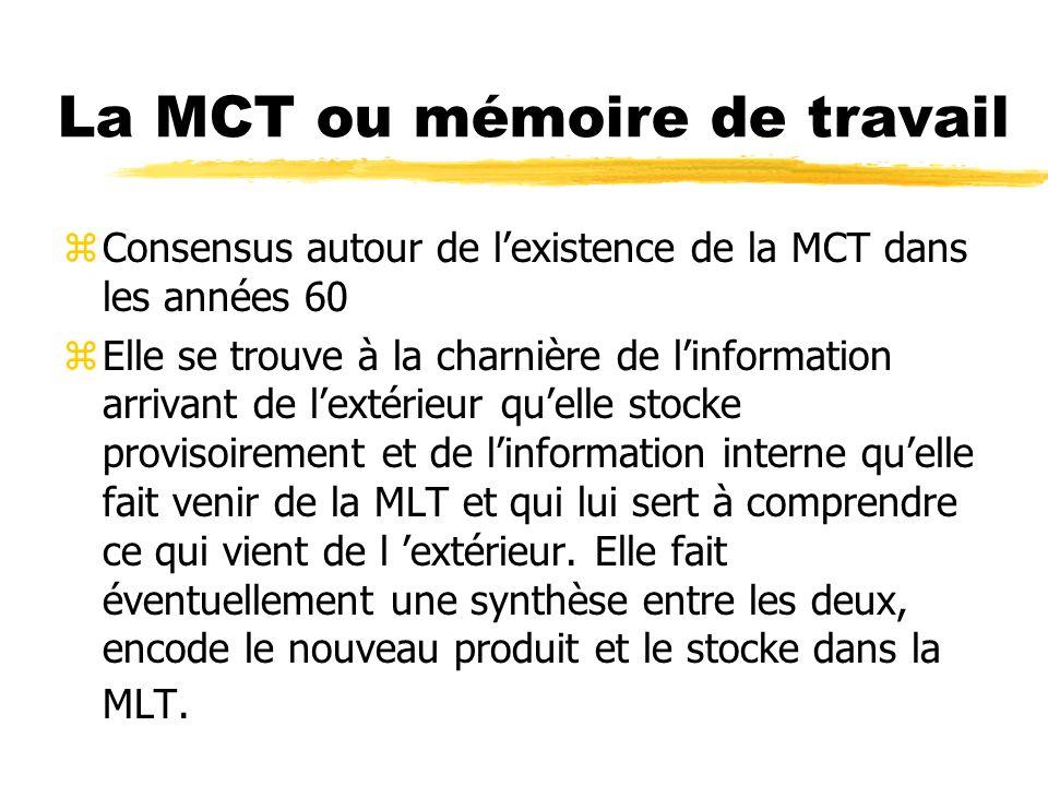 La MCT ou mémoire de travail
