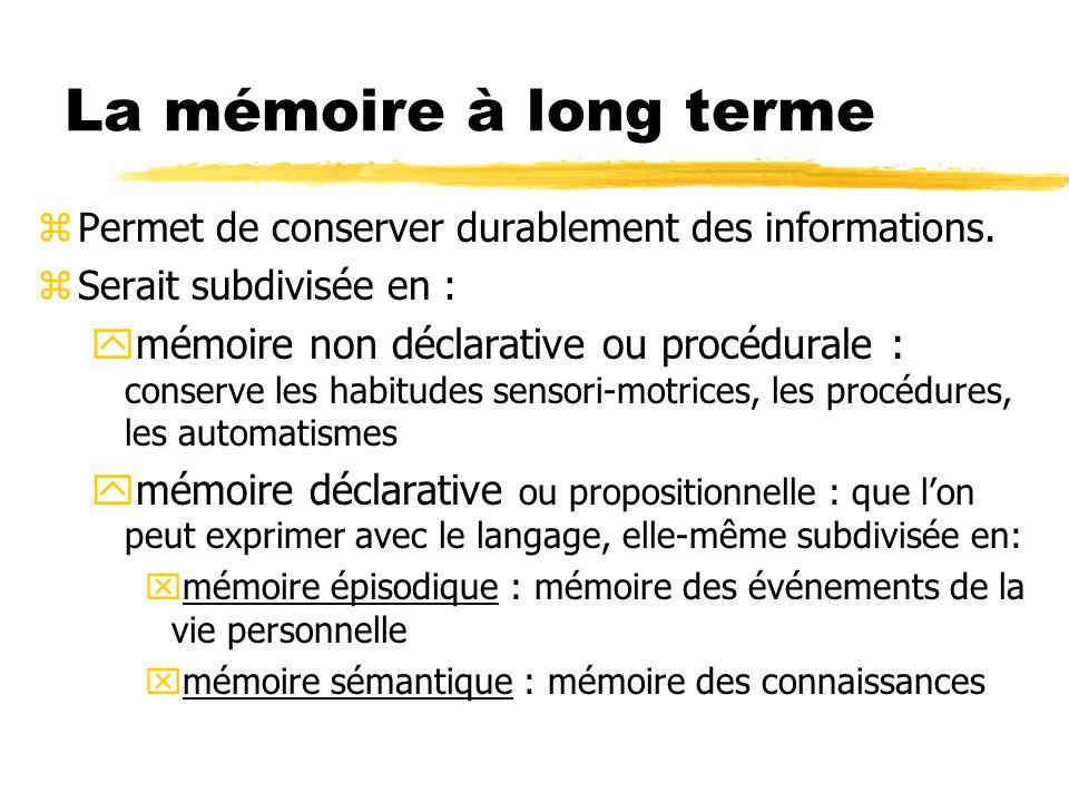La mémoire à long terme Permet de conserver durablement des informations. Serait subdivisée en :