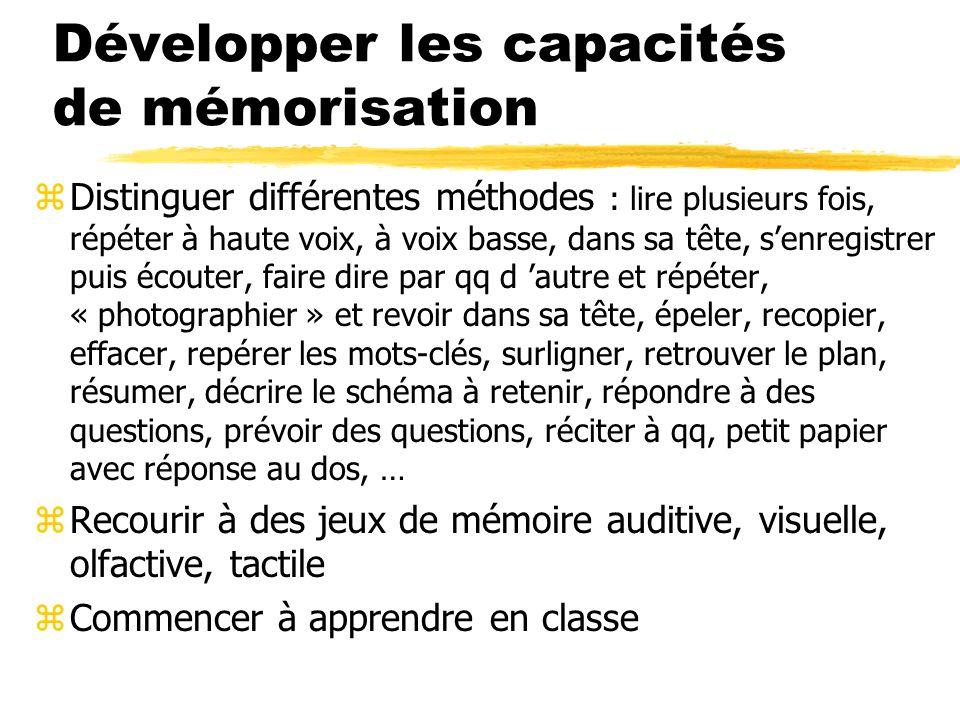 Développer les capacités de mémorisation