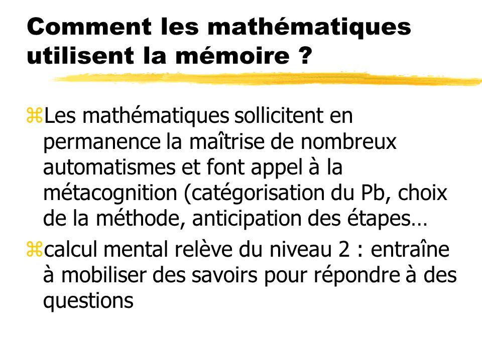 Comment les mathématiques utilisent la mémoire