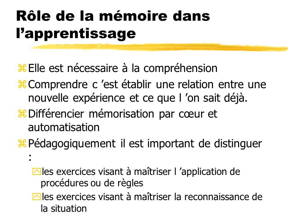 Rôle de la mémoire dans l'apprentissage