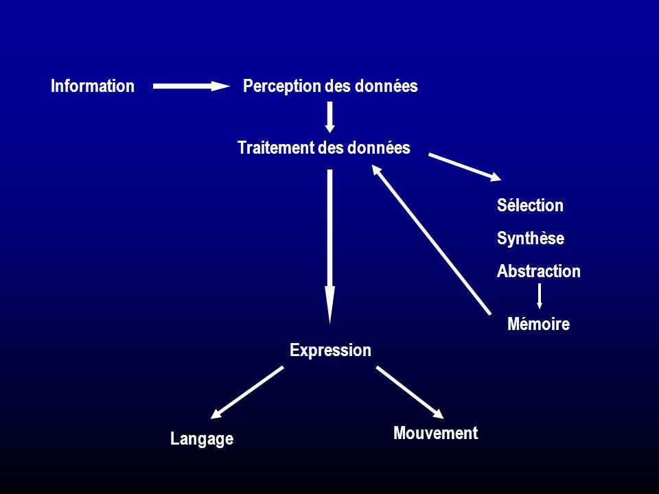 Information Perception des données. Traitement des données. Sélection. Synthèse. Abstraction. Mémoire.