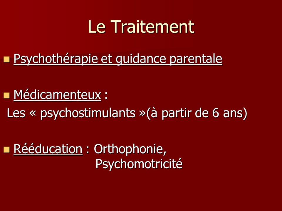 Le Traitement Psychothérapie et guidance parentale Médicamenteux :