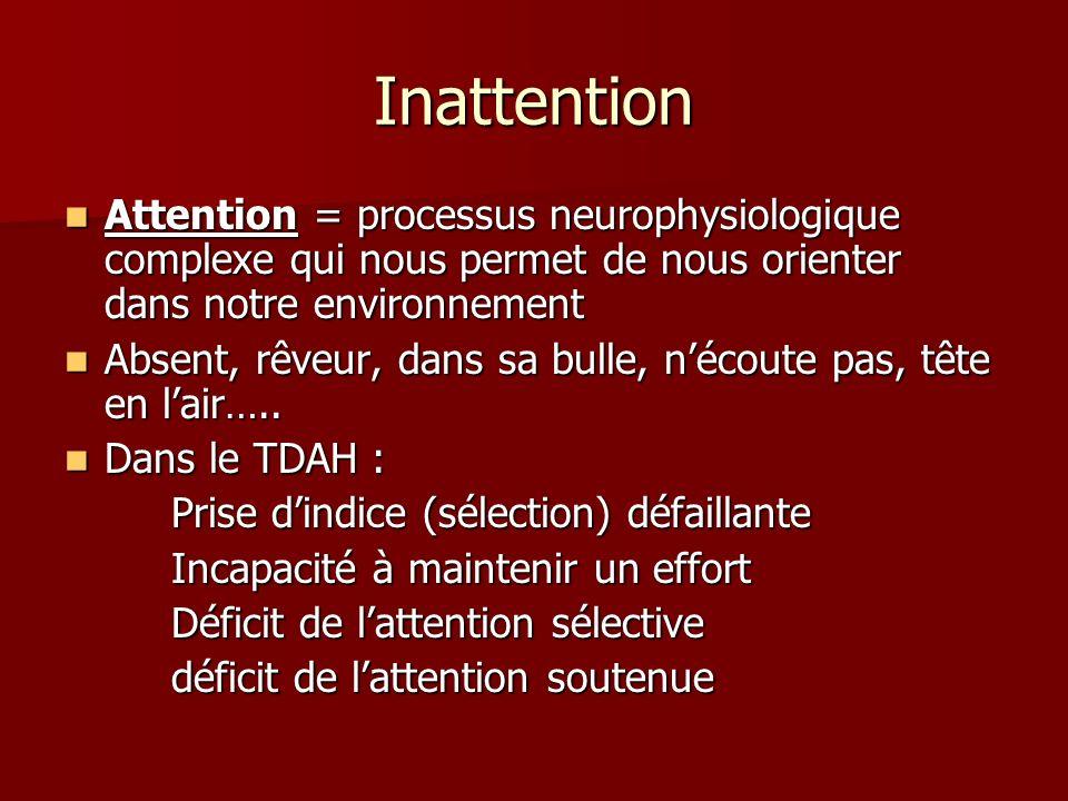 Inattention Attention = processus neurophysiologique complexe qui nous permet de nous orienter dans notre environnement.