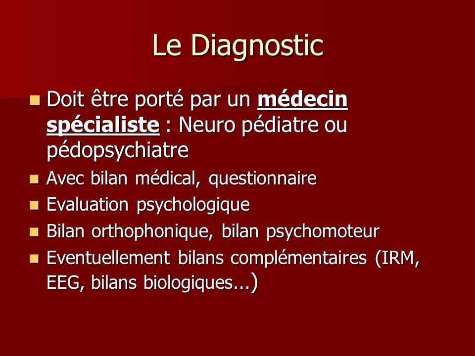 Le Diagnostic Doit être porté par un médecin spécialiste : Neuro pédiatre ou pédopsychiatre. Avec bilan médical, questionnaire.