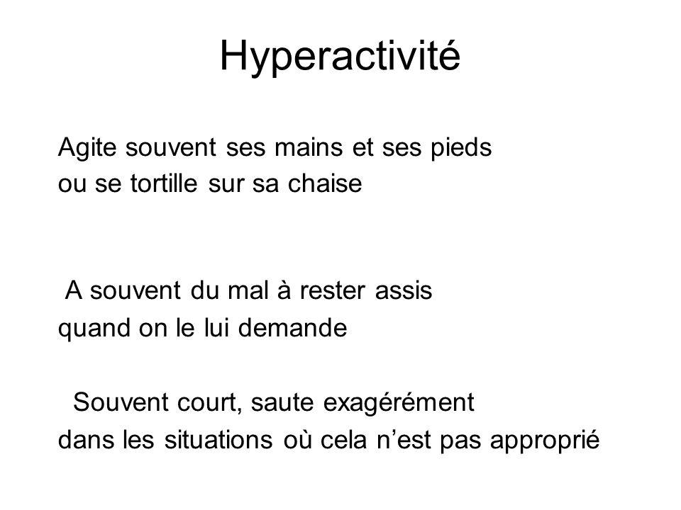 Hyperactivité Agite souvent ses mains et ses pieds