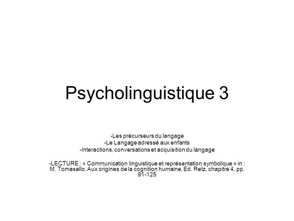 Psycholinguistique 3 Les précurseurs du langage