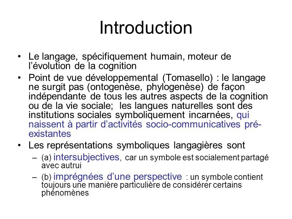 Introduction Le langage, spécifiquement humain, moteur de l'évolution de la cognition.