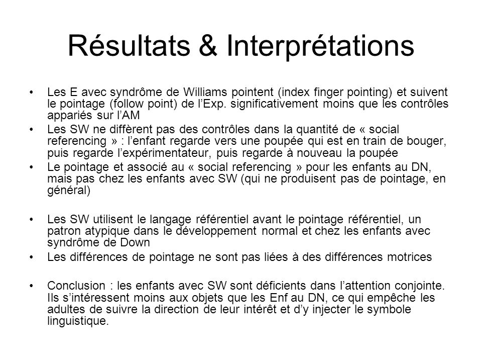 Résultats & Interprétations