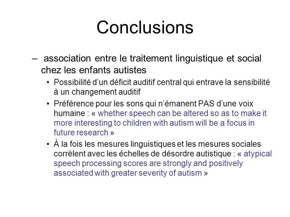 Conclusions association entre le traitement linguistique et social chez les enfants autistes.