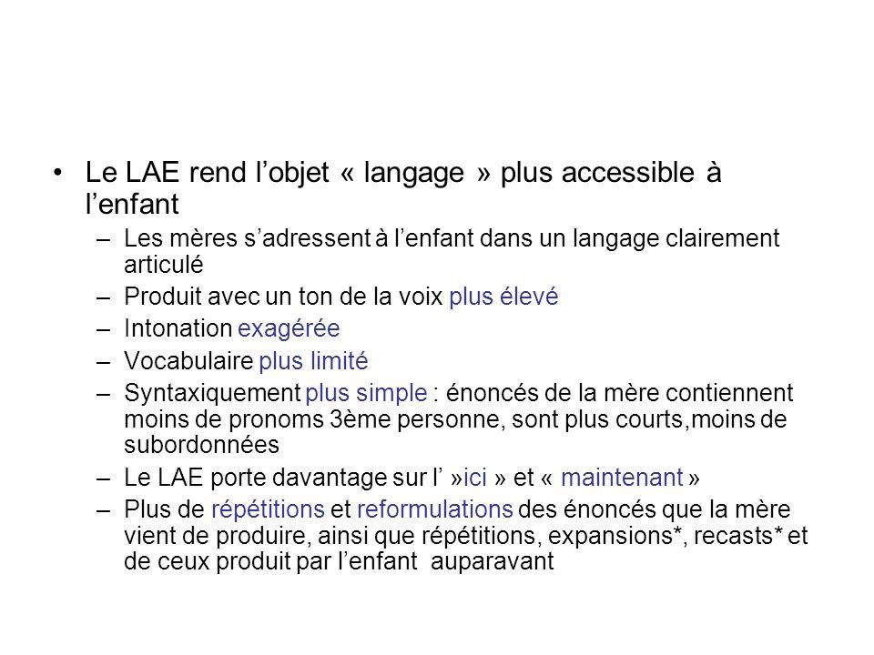 Le LAE rend l'objet « langage » plus accessible à l'enfant