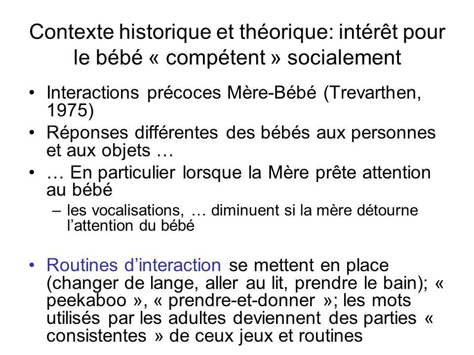 Contexte historique et théorique: intérêt pour le bébé « compétent » socialement