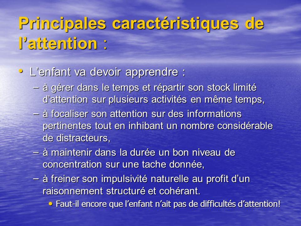 Principales caractéristiques de l'attention :