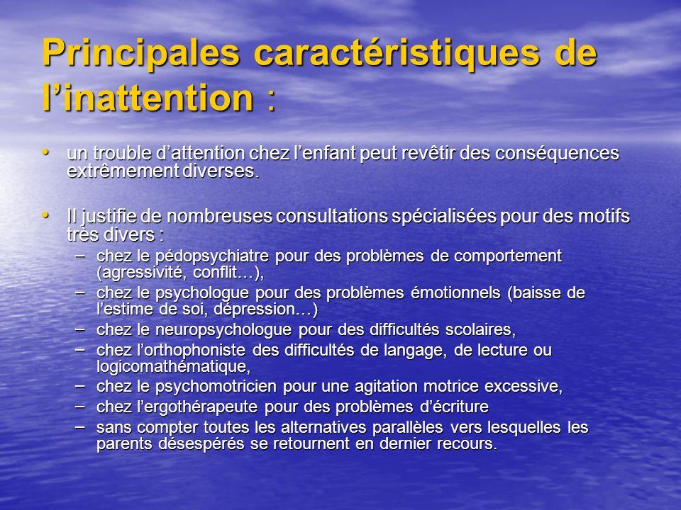 Principales caractéristiques de l'inattention :