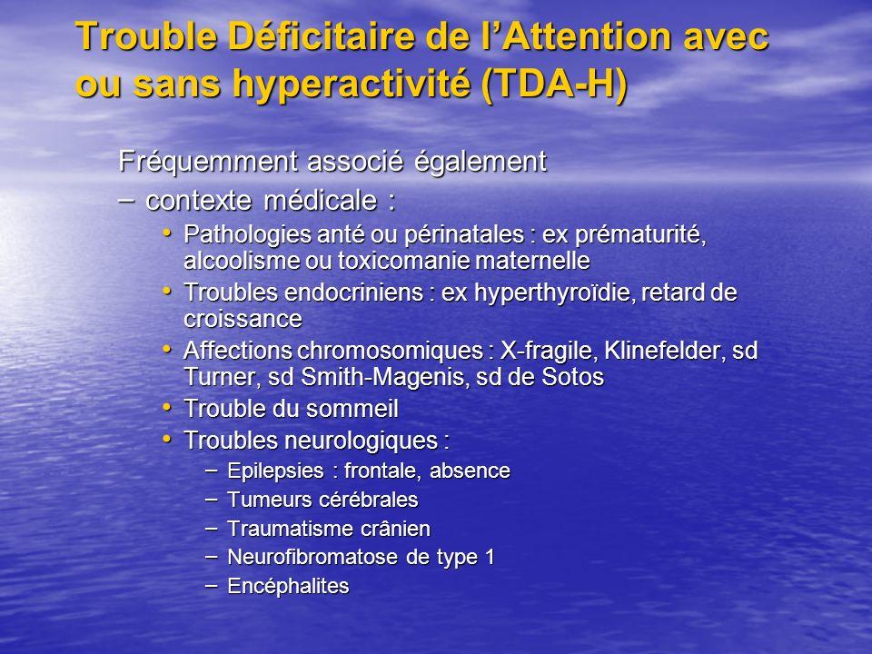 Trouble Déficitaire de l'Attention avec ou sans hyperactivité (TDA-H)