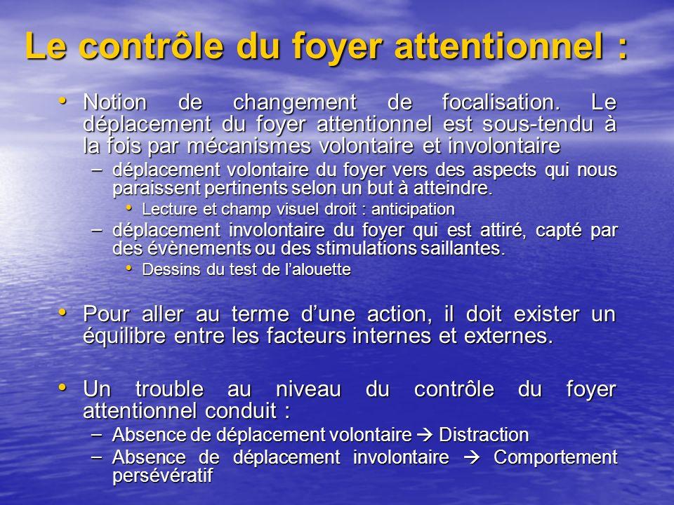 Le contrôle du foyer attentionnel :