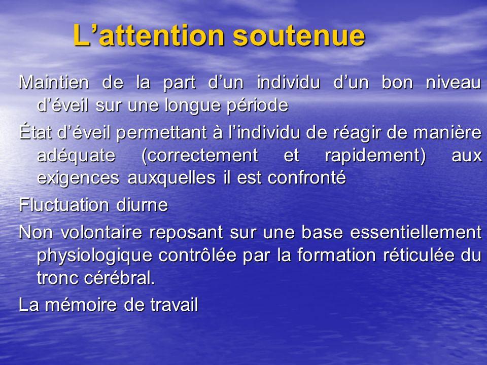 L'attention soutenue Maintien de la part d'un individu d'un bon niveau d'éveil sur une longue période.