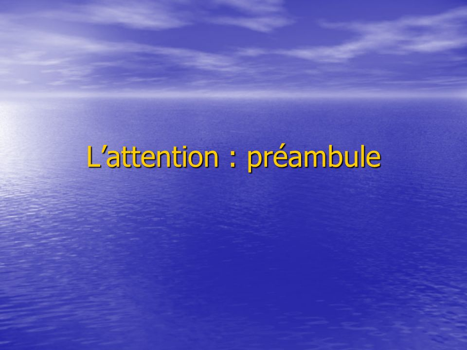 L'attention : préambule