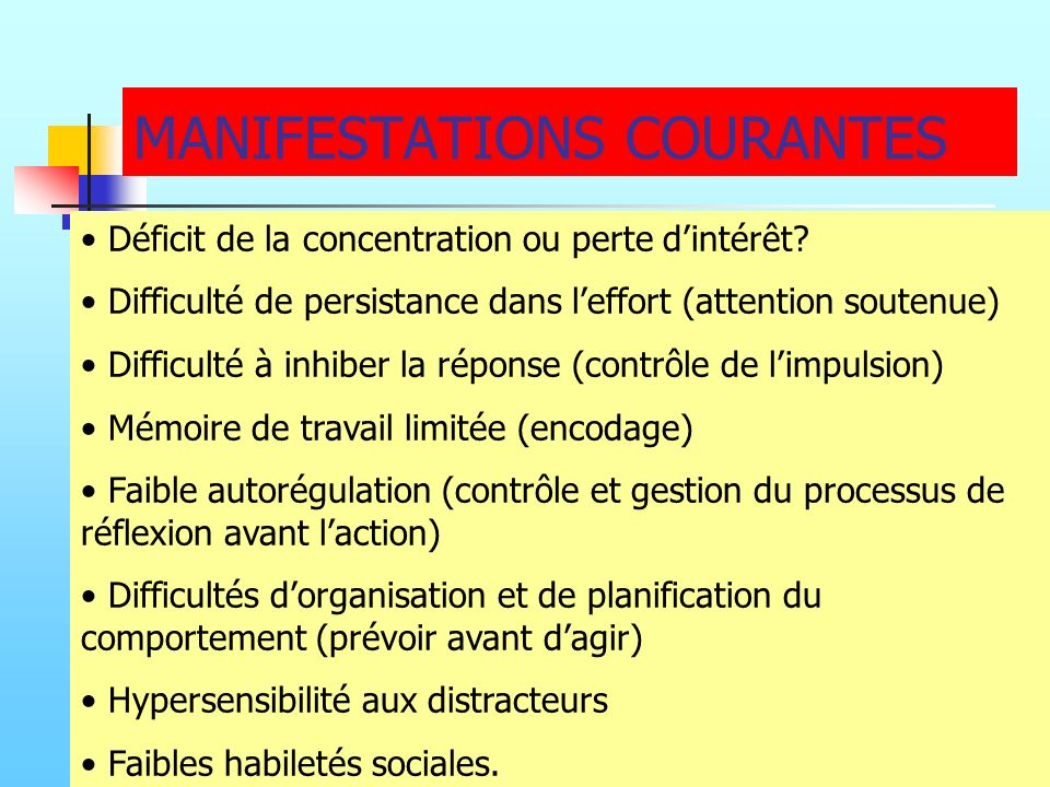 MANIFESTATIONS COURANTES
