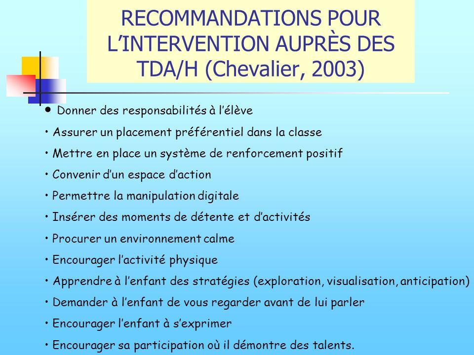 RECOMMANDATIONS POUR L'INTERVENTION AUPRÈS DES TDA/H (Chevalier, 2003)