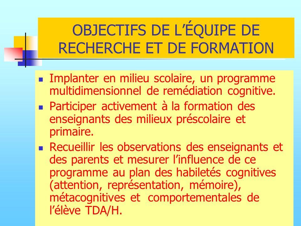 OBJECTIFS DE L'ÉQUIPE DE RECHERCHE ET DE FORMATION