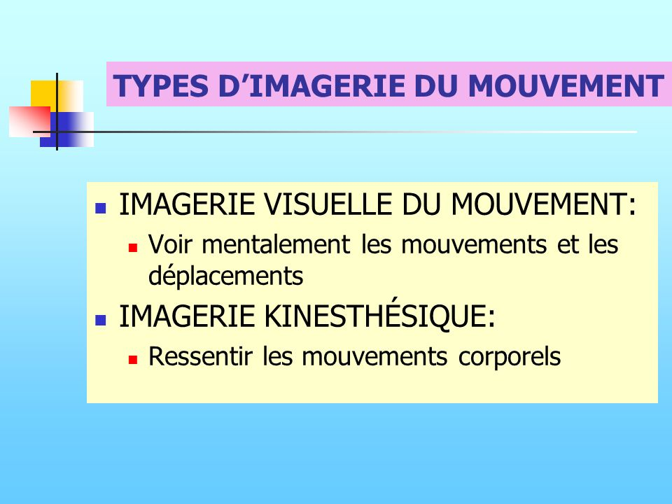 TYPES D'IMAGERIE DU MOUVEMENT