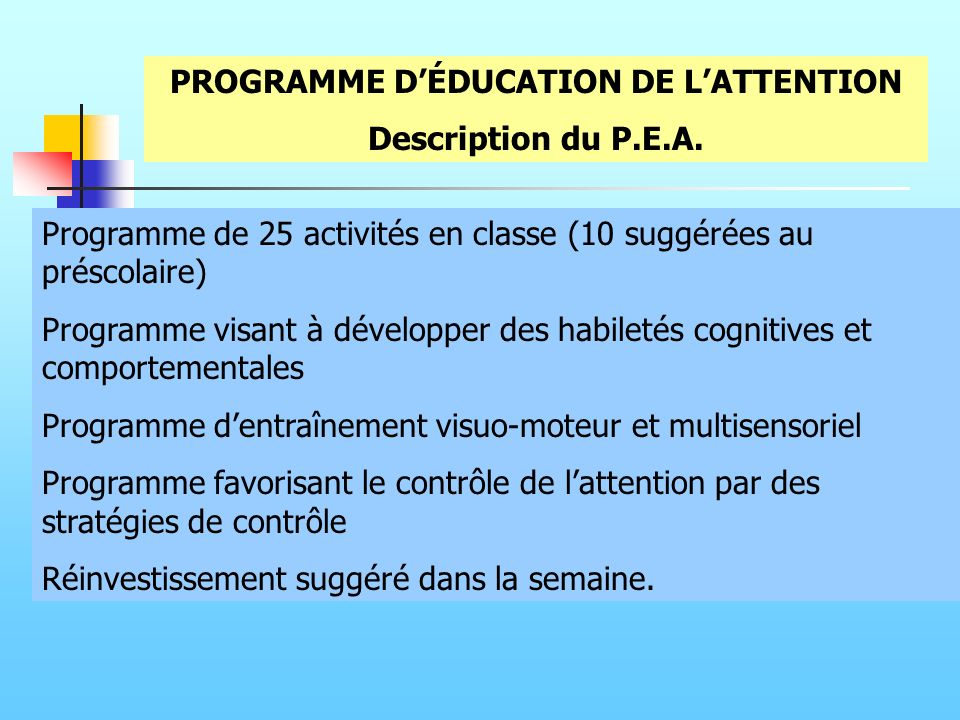 PROGRAMME D'ÉDUCATION DE L'ATTENTION