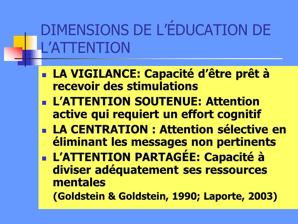 DIMENSIONS DE L'ÉDUCATION DE L'ATTENTION