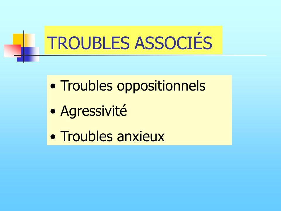 TROUBLES ASSOCIÉS Troubles oppositionnels Agressivité Troubles anxieux