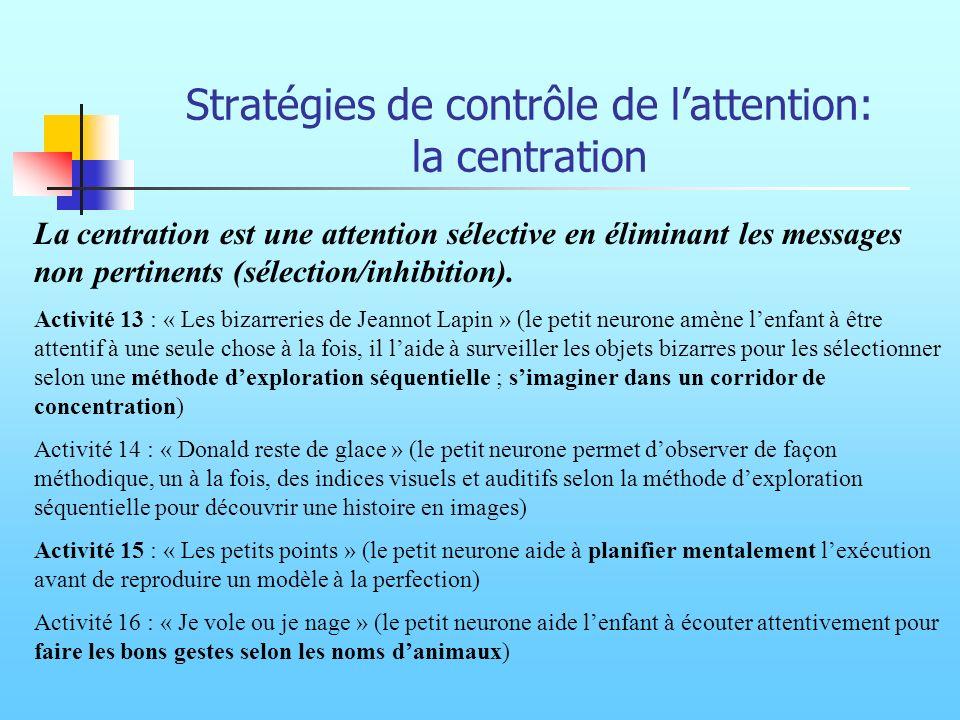 Stratégies de contrôle de l'attention: la centration