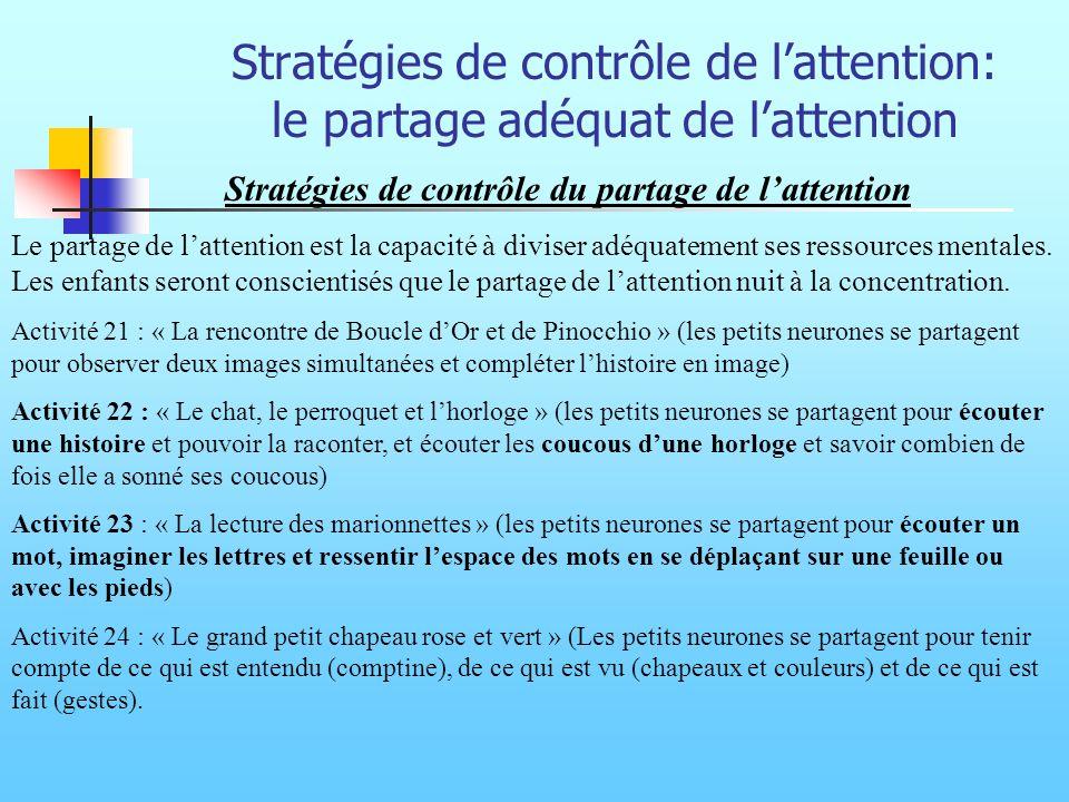 Stratégies de contrôle de l'attention: le partage adéquat de l'attention
