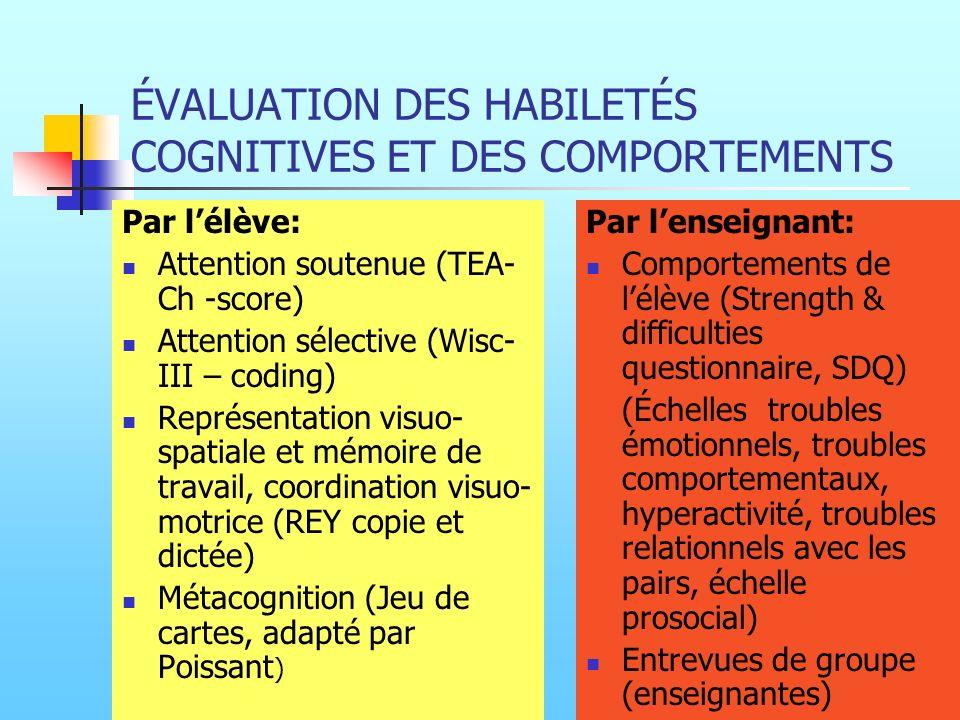 ÉVALUATION DES HABILETÉS COGNITIVES ET DES COMPORTEMENTS